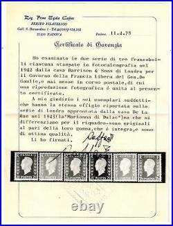 (a1) timbres France n° 701A/701F neufs année 1942 signés et certificat